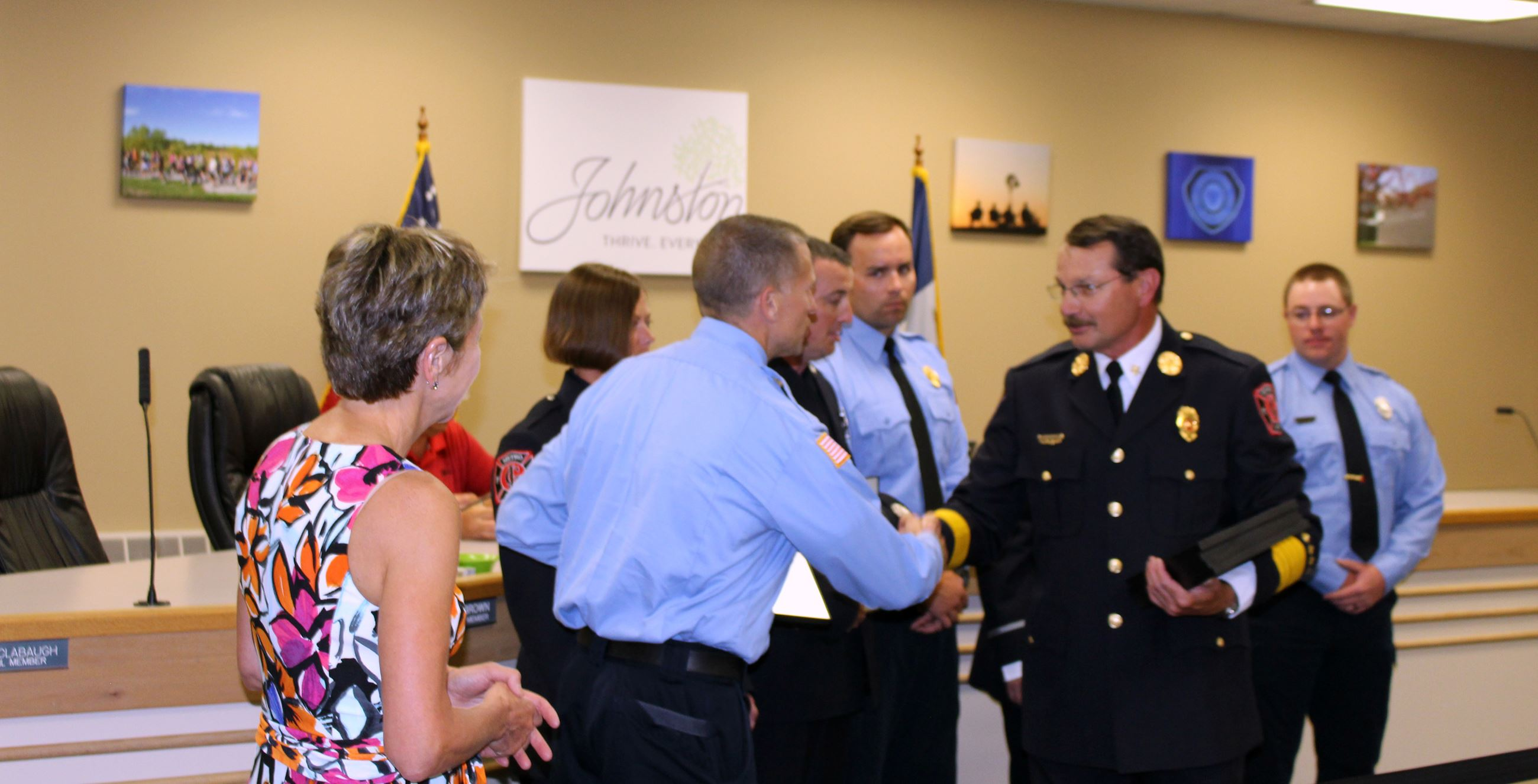 Chief Clark awarding Brook Hansen (July 2017)